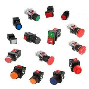 Nút nhấn không đèn viền nhôm màu xanh dương MRF-RA2A